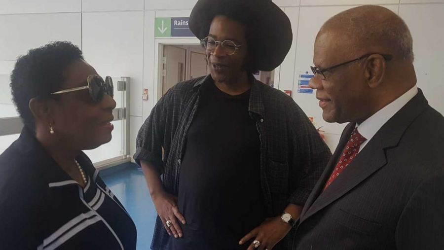 Minister of Culture, Gender, Entertainment and Sport, the Honourable Olivia Grange took time out to visit Count Prince Miller at the Chelsea and Westminster Hospital in London. Accompanying her was the Jamaican High Commissioner in London, His Excellency Seth George Ramocan (right). On hand to receive them was Jean-Pierre Miller, son of Count Prince Miller (centre).