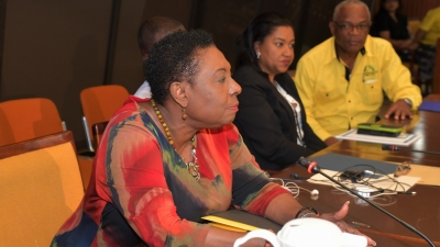 Minister of Culture, Gender, Entertainment and Sport, the Honourable Olivia Grange (left), announces new requirements for national sports federations to access funding from the Ministry and the Sports Development Foundation.  The Minister made the announcement during a meeting of national sports federations/associations at the Jamaica Conference Centre on Wednesday, 24 April 2019.  Looking on are Sandra Brown, Citizenship Manager of PICA  and General Manager of Independence Park Limited, Major Desmon Brown.