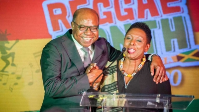 Joined at the hip! The Minister of Culture, Gender, Entertainment and Sport, the Honourable Olivia Grange (right) and the Minister of Tourism, the Honourable Edmund Bartlett (left) share a light moment at the launch of Reggae Month 2020. Both Ministers are collaborating in the planning of Reggae Month 2020 to be celebrated under the theme 'Come ketch de riddim.'