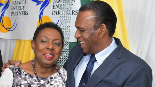 The Honourable Olivia Grange, Minister of Culture, Gender, Entertainment and Sport (left) with Wilford 'Billy' Heaven, President, Jamaica Cricket Association at the St Catherine Cricket Association Awards Function in Twickenham Park on Thursday (December 6).