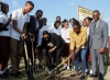 The Minister of Culture, Gender, Entertainment and Sport, the Honourable Olivia Grange (c); West Indies and Jamaican cricketer, Stafanie Taylor (second right); and President of the Jamaica Cricket Association, Billy Heaven (third left) break ground for the Stafanie Taylor Oval at the Eltham High School in St. Catherine on Wednesday (November 1). Interim Principal of the school, Ricardo Bennett (right), and students look on.