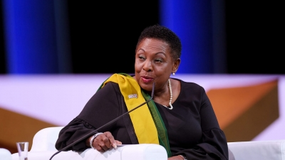Minister of Culture, Gender, Entertainment and Sport, the Honourable Olivia Grange, speaks during the FIFA Women's Football Convention in Paris, France on Friday, 7 June 2019
