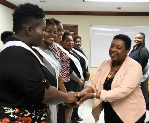 Miss Curvy Jamaica Contestants Pay Courtesy Call on Minister Grange