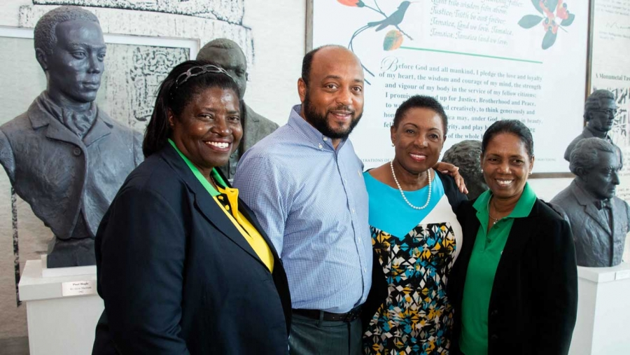 Minister of Culture, Gender, Entertainment and Sport, the Honourable Olivia Grange (2nd right) with Elaine Walker Brown (left); Mayor of St Ann's Bay, Michael Belnavis and Manager of the Reggae Girls, Jean Nelson