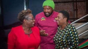 The Minister of Culture, Gender, Entertainment and Sport, the Honourable Olivia Grange (right) shares a light moment with Entertainer, Tony Rebel (centre) and the Director of Public Prosecutions, Paula Llewellyn at the launch of Rebel Salute 2019 on Thursday, 28 December 2018.
