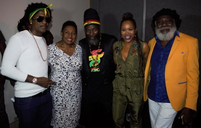 The Honourable Olivia Grange, Minister of Culture, Gender, Entertainment and Sport (second left) with recording artistes Charly Black, Capleton, Queen Ifrica and King Sounds (left to right) at the launch of Rebel Salute 2018 at the Jamaica Pegasus Hotel on Monday. Rebel Salute is celebrating its 25th Anniversary and will be held on January 12 and 13 at Grizzlys Plantation Cove in St. Ann.