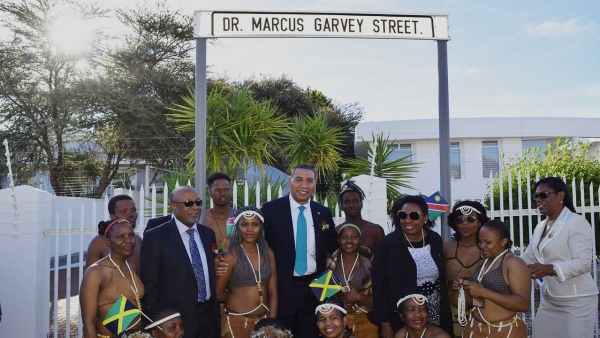 Prime Minister, the Most Honourable Andrew Holness and the Minister of Culture, Gender, Entertainment and Sport, the Honourable Olivia Grange participate in naming of street in honour of National Hero, the Right Excellent Marcus Garvey by the Government of Namibia in Windhoek