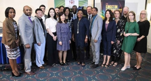 The Honourable Olivia Grange, Minister of Culture, Gender, Entertainment and Sport and Senator Councillor Delroy Williams, Mayor of Kingston (centre) are joined by delegates attending the four-day meeting of the UNESCO Creative Cities of Music Subnetwork taking place at the Jamaica Pegasus.