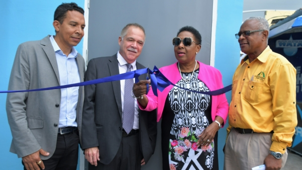 Now officially opened, the upgraded Administrative Building of the Aquatic Sports Association of Jamaica (ASAJ). Participating with the Honourable Olivia Grange, Minister of Culture, Gender, Entertainment and Sport in the ribbon cutting are: David Shirley, Deputy Chairman, Independence Park Limited; Martin Lyn, President, Aquatic Sports Association of Jamaica and Major Desmon Brown, General Manager, Independence