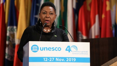The Minister of Culture, Gender, Entertainment and Sport, the Honourable Olivia Grange, delivers Jamaica statement at the 40th Session of the UNESCO General Conference in Paris, France on 15 November 2019