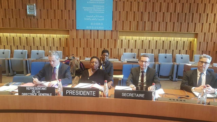 Minister of Culture, Gender, Entertainment and Sport, the Honourable Olivia Grange, chairs a meeting of the Committee on Conventions and Recommendations at the 206th Session of the UNESCO Executive Board meeting in Paris, France.