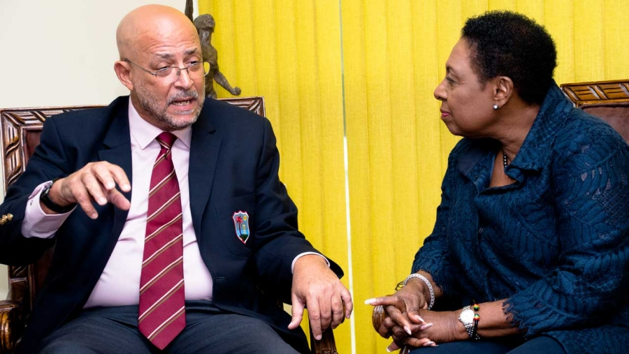 Minister of Culture, Gender, Entertainment and Sport, the Honourable Olivia Grange (right) meets with Cricket West Indies President, Ricky Skerritt in 2019