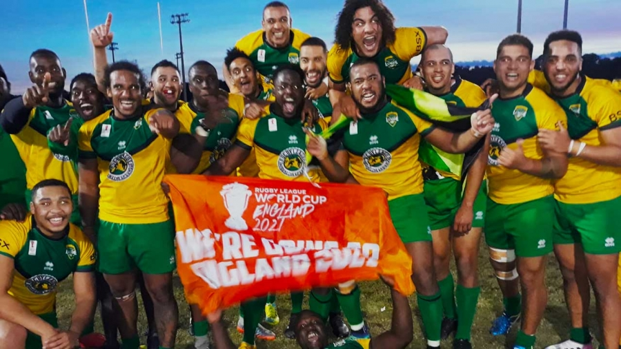Members of the Reggae Warriors celebrate qualification to the Rugby League World Cup