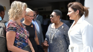 Minister of Culture, Gender, Entertainment and Sport, the Honourable Olivia Grange (second right) in conversation with Canadian High Commissioner to Jamaica, Her Excellency, Laurie Peters; Head of the European Union Delegation to Jamaica, Ambassador Malgorzata Wasilewska and Rose Tavares-Finson, wife of the President of the Senate (left to right) following the Ceremonial Opening of Parliament at Gordon House.