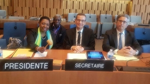 Minister of Culture, Gender, Entertainment and Sport, the Honourable Olivia Grange (left) after chairing a meeting of UNESCO's Conventions and Recommendations Committee on Friday, 5 October 2018.  Also pictured are Secretary General of the Jamaica National Commission for UNESCO, Everton Hannam (2nd left) Guillermo Trasancos and Jean-Christophe Badaroux-Mendieta both of the Secretariat of the Committee.