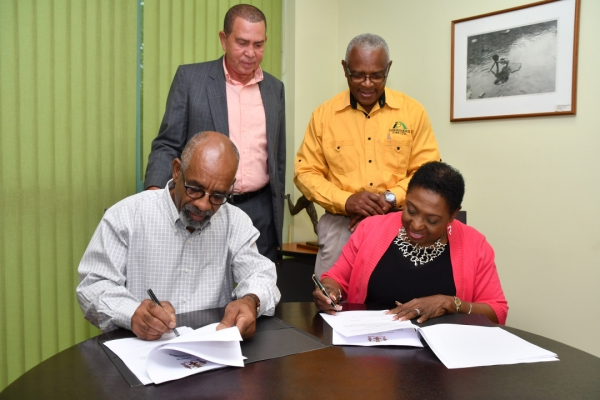 The Honourable Olivia Grange, Minister of Culture, Gender, Entertainment and Sport signs an agreement with Sculptor, Basil Watson (left) to begin work on the statues for Veronica Campbell-Brown and Asafa Powell. Looking on are: Lloyd 'Bunny' Pommells, Deputy Chairman, Sports Development Foundation and Major Desmon Brown, General Manager, Independence Park Limited (standing from left). The agreements were signed at the Ministry's Trafalgar Road offices on Wednesday.