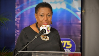 The Honourable Olivia Grange, the Minister of Culture, Gender, Entertainment and Sport speaking at the launch of the fourth Racers Grand Prix at Jamaica Pegasus Hotel (May 9).
