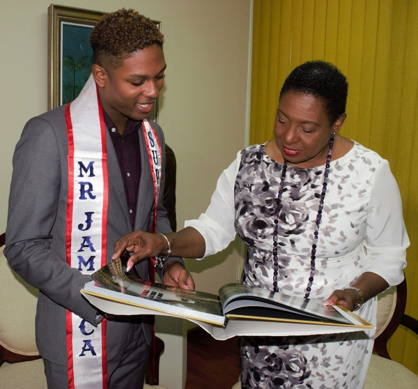 Mr Supranational Jamaica pays Courtesy Call on Minister Grange