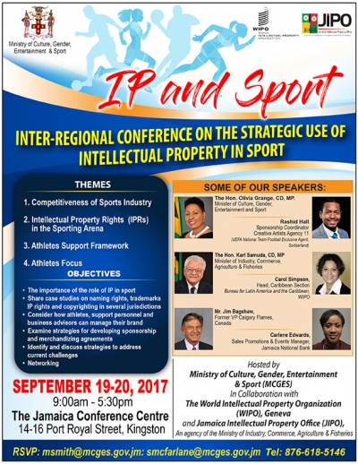 Jamaica to host sports conference on intellectual property