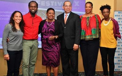 The Honourable Olivia Grange, Minister of Culture, Gender, Entertainment and Sport; (third left) Orville Hill, Interim Executive Director, Jamaica Cultural Development Commission (third right) and Olayinka Jacobs-Bonnick, Country Director, British Council Jamaica (second right) with Enola Williams, Michael Holgate and Lesley-Ann Welsh, (left to right) at the Festival X Workshop and Seminar held at the Knutsford Court Hotel today, June 13. The Festival X Workshop and Seminar covered several topics designed to strengthen the capacity of festival organisers.