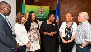 The Honourable Olivia Grange, Minister of Culture, Gender, Entertainment and Sport (4th left) with Denzil Thorpe, Permanent Secretary in the Ministry; Angela Labrador, Technical Consultant, Coherit Associates LLC; Jeanelle Van Glaanenweygel, Organisation of American States Country Representative in Kingston; Celia Toppin; Technical Project Manager (Cultural Heritage), Culture and Tourism Section, Department of Economic Development, OAS and Neil Silberman, Technical Consultant, Coherit Associates LLC (left to right) at the Opening Ceremony of a three-day workshop on Effective Heritage Inventories and National Registers. The workshop is being held at the Courtleigh Hotel and Suites.