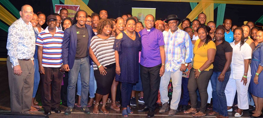 Jamaica Festival Song Finalists celebrate with Minister Grange and State Minister Terrelonge at the semi-finals on Saturday, April 14, 2018